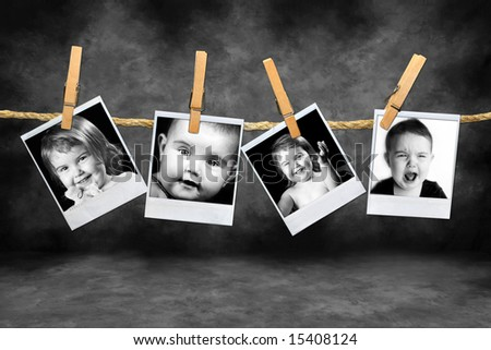 instant Photos of a Toddlers Many Expressions Against a Grunge Mottled Background