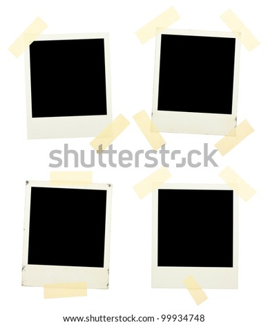 Instant photos with sticky ribbons isolated on a white background