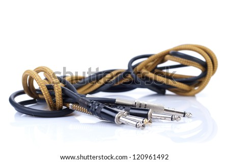 Instrument cables isolated on white background