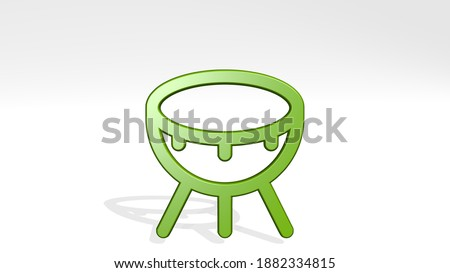 INSTRUMENT DHOLAK 3D icon casting shadow, 3D illustration