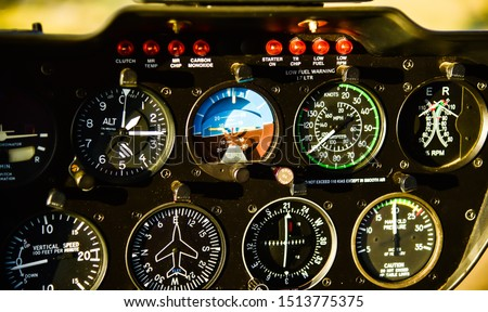 Instrument panel of aviation helicopter airplane for flight simulation training