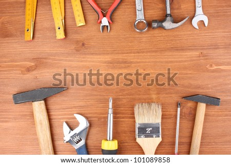 Instruments on wooden background #101089858