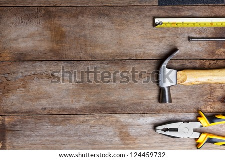 Instruments on wooden table with copy space #124459732