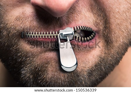 Insubordinate man with zipped mouth #150536339