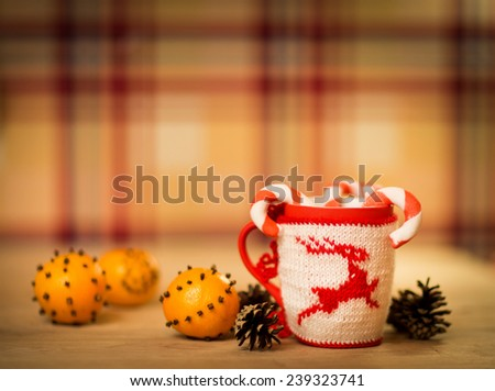 insulated wool cloth mug with embroidered deer on the wooden table mug with tangerines and a candy