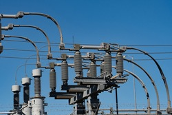 insulators and wires at the station electrical volt cables