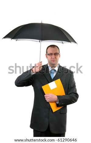 Insurance agent with umbrella and yellow document folder