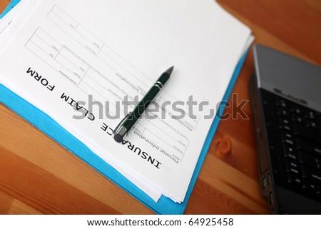 Insurance. Blank work injury claim form.