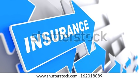 Insurance - Business Background. Blue Arrow with