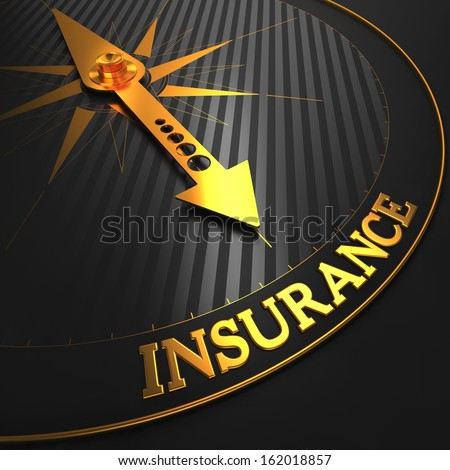 Insurance - Business Background. Golden Compass Needle on a Black Field Pointing to the