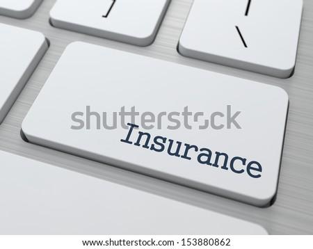 Insurance - Business Concept. Button on Modern Computer Keyboard. 3D Render.