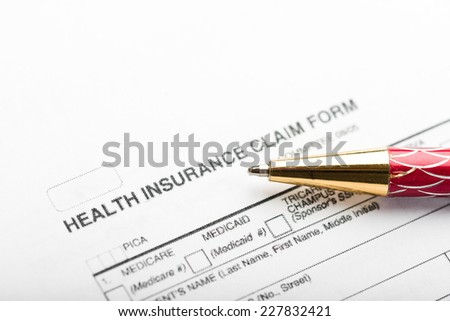 insurance claim form, paperwork and legal document, accidental and insurance concepts