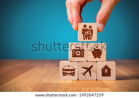 Insurance company client take out complete insurance concept. Assurance and insurance: car, real estate and property, travel, finances, health, family and life.
