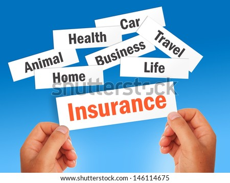 Insurance concept over blue background.