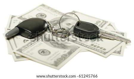 insurance concept, us dollars and car keys isolated on white background, selective focus