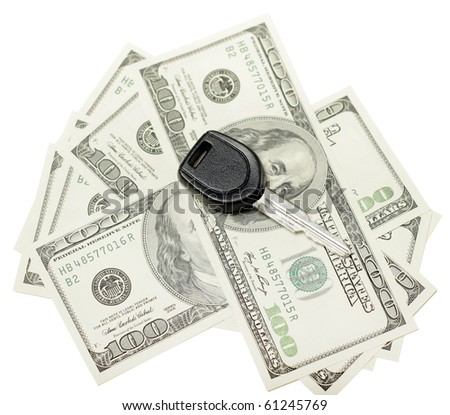 insurance concept us dollars and car keys isolated on white background, selective focus