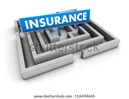 Insurance concept with labyrinth and blue goal sign on white background.