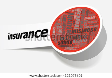 Insurance info-text graphics and arrangement concept on white background (word cloud)