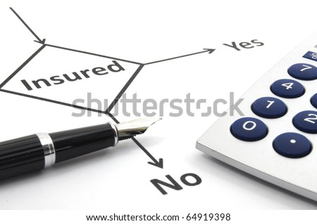 insurance or risk concept with flowchart and pen