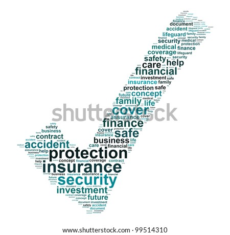 Insurance protection info text graphic and arrangement concept on white background - stock photo