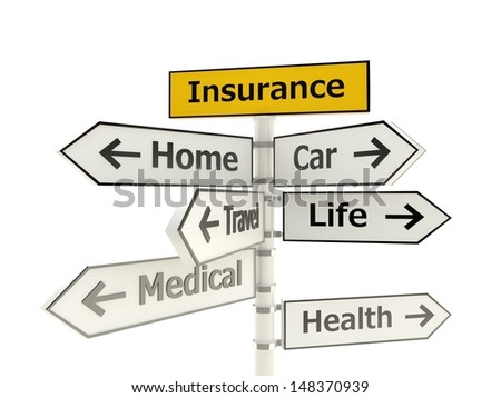 Insurance road sign isolated on white background