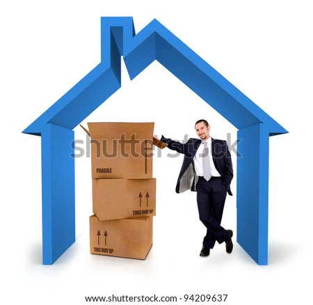 Insurance salesman in a 3D house - isolated over a white background