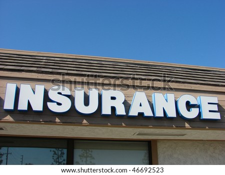 insurance sign with blue sky