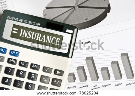Insurance word on electronic calculator