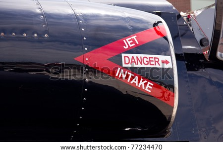 Intake into jet engines on airforce Albatros L-39 fighter training aircraft