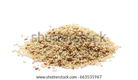 Shutterstock Integral, brown rice pile isolated on white background