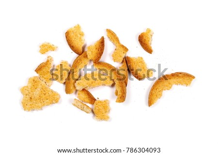 Integral crumbled rusks with wholewheat flour, bread slices isolated on white background, top view #786304093