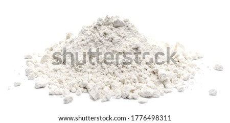 Integral flour pile with wheat ears isolated on white background Foto d'archivio ©