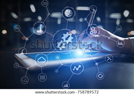 Integration concept. Industrial and smart technology concept. Business and automation solutions.