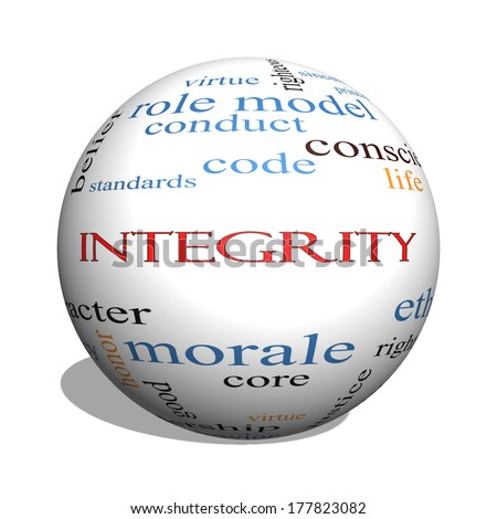 Integrity 3D sphere Word Cloud Concept with great terms such as virtue, code, conduct and more.