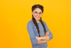 Intellectual. Kid girl wear eyeglasses. Back to school concept. Cute schoolgirl. Clever little child. Happy childhood. I love studying. Smart baby. Romantic schoolgirl. Adorable school nerd.