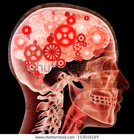 Intellectual thinker,Female xray with gears for brains, grunge concept . Male version also available