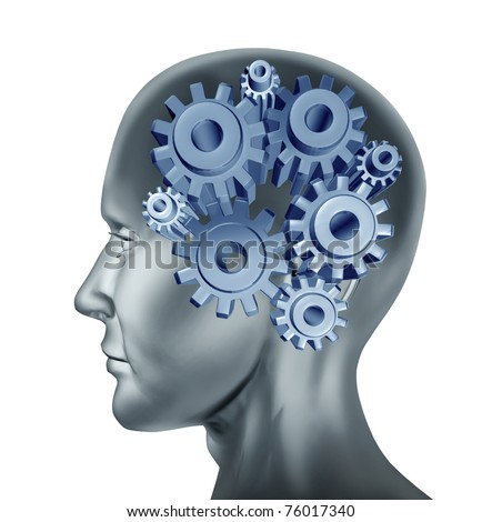 intelligence and brain function symbol isolated on white represented by cogs and gears within the human head.