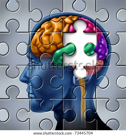 Intelligence and memory loss symbol represented by a multicolored human brain with a missing piece of a jigsaw puzzle. - stock photo