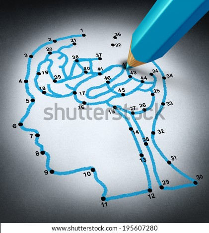 Intelligence therap and brain research challenges as a medical concept with a connect the dots drawing puzzle connected by a blue pencil used by a doctor shaped as a human head and thinking organ.