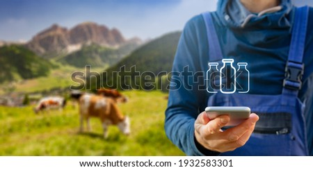 Intelligent agriculture concept and milk production control on smart phone app. Farmer with smart phone app analyze milk production, cows in background. Customer buy organic milk directly from farmer.