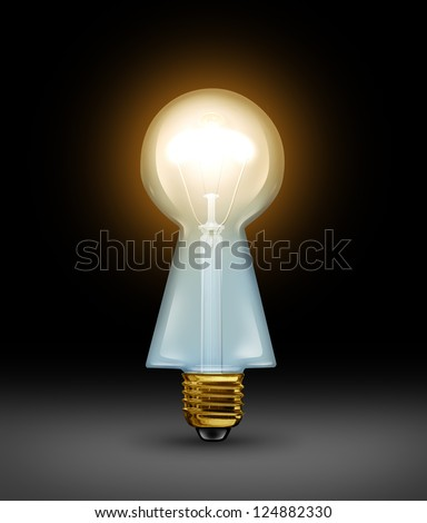 Intelligent answers and key ideas as brilliant business solutions concept with a light bulb in the shape of a keyhole on a black background as a concept of a creative key and expert guidance.