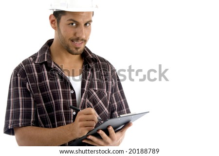 intelligent architect with note pad with white background