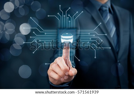 Intelligent car, intelligent vehicle and smart cars concept. Symbol of the car and wireless communication. Abstract chip with symbol of the car connected with abstract devices represented by points. #571561939
