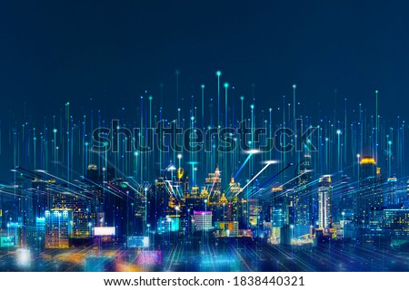 Intelligent city networks and communication in the age of AI (wireless communication on the world) ストックフォト ©