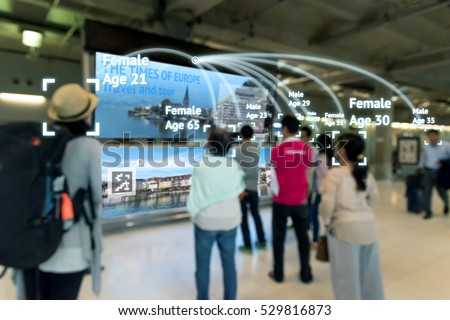 Intelligent Digital Signage , Augmented reality marketing and face recognition concept. Group of people watch interactive artificial intelligence digital advertisement in retail shopping Mall.