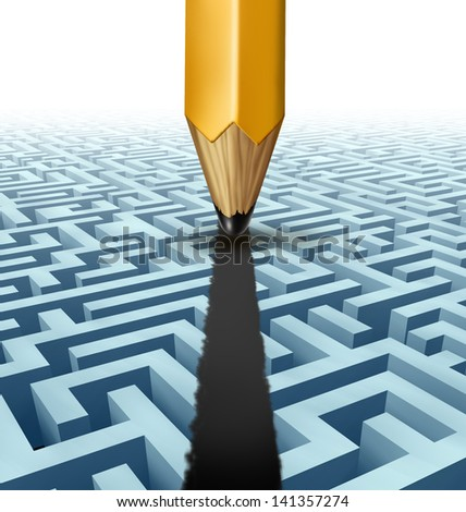 Intelligent planning and solving problems finding the best creative solution to a complicated three dimensional maze with a clear shortcut path created by drawing a line on a labyrinth with a pencil.