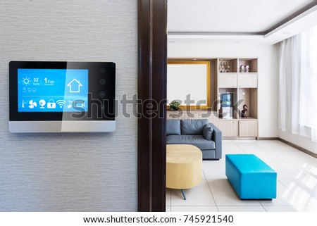 intelligent touch screen with smart home app and modern living room