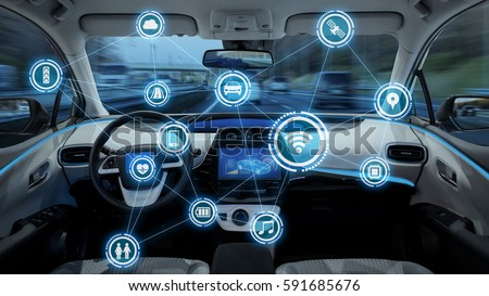 intelligent vehicle cockpit and wireless communication network concept #591685676