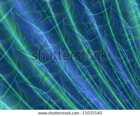 Intense green and blue flowing fractal abstract - looks like shiny fabric