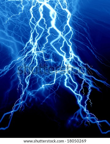 Intense lightning on a dark blue background